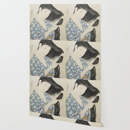 Hashiguchi Goyo: Woman Combing Her Hair Japanese Woodblock Print Blue Floral Kimono Black Hair Wallpaper