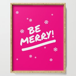 Bright Pink Be Merry Christmas Snowflakes Serving Tray