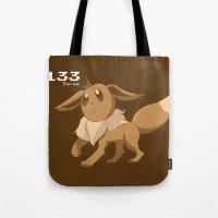 eevee Tote Bags featuring Pkmn #133: Eevee by Michelle Rakar