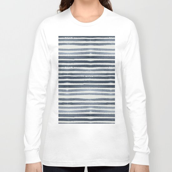 Simply Shibori Stripes Indigo Blue on Lunar Gray Long Sleeve T-shirt