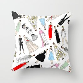 Audrey Fashion (Scattered) Throw Pillow