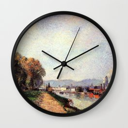View Of Rouen 1883 By Camille Pissarro | Reproduction | Impressionism Painter Wall Clock