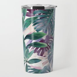 Tropical Emerald Jungle in light cool tones Travel Mug