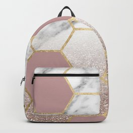 Cherished aspirations rose gold marble Backpack