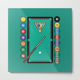 Billiards Table and Equipment Metal Print