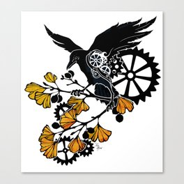 Raven and Ginkgo - Autumn Cycle Canvas Print