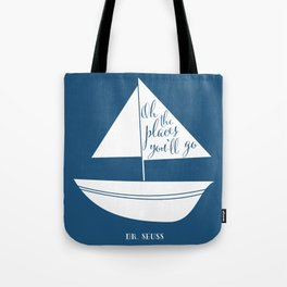 Dr Seuss Oh the Places you'll go navy sail boat Tote Bag