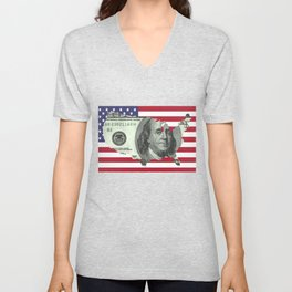 $100 Bill United States Outline on American Flag Unisex V-Neck