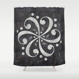 Music mandala on chalkboard Shower Curtain
