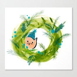 Kitty Christmas Wreath - Holiday Watercolor Canvas Print