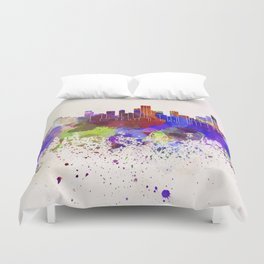 Bogota skyline in watercolor background Duvet Cover