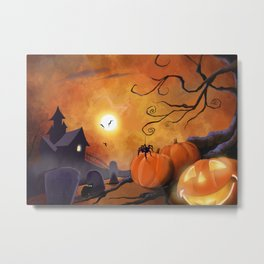 Halloween Cemetery Pumpkins Spiders and Bats Metal Print