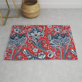 Red White & Blue Floral Paisley Rug