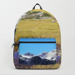 Mountains reflected in the shallow water Backpack