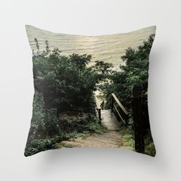 stairs to the beach in the lake Throw Pillow