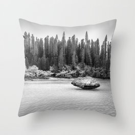 Beautiful pine forest view at Natural Pool in black and white. Throw Pillow