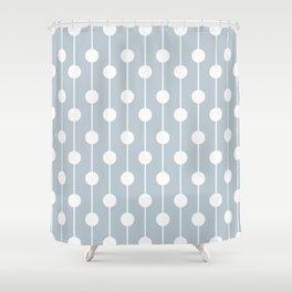 BlueGray Lined Polka Dot Shower Curtain