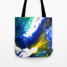 Abstract Art Drip Painting Blue, White ,Yellow Tote Bag