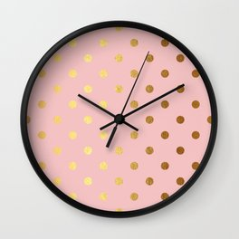 Gold polka dots on rose gold background - Luxury pink pattern Wall Clock