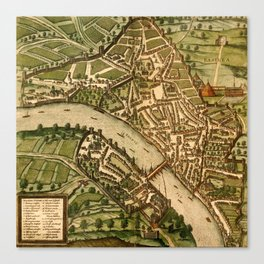 Map Of Basel 1575 Canvas Print