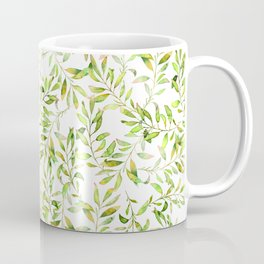 Simple and cute green watercolor leaves and branches. Real watercolor painting. Coffee Mug