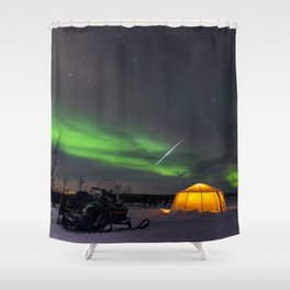 Northern Lights and Geminid Meteor Over the Arctic Shower Curtain