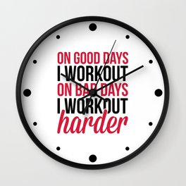 Workout Harder Gym Quote Wall Clock