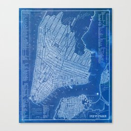 New York antique map, blue old maps, usa maps Canvas Print