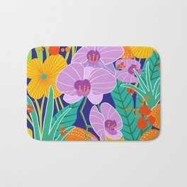 Orchid Fantasy Illustration, Tropical Colourful Orchids Bath Mat