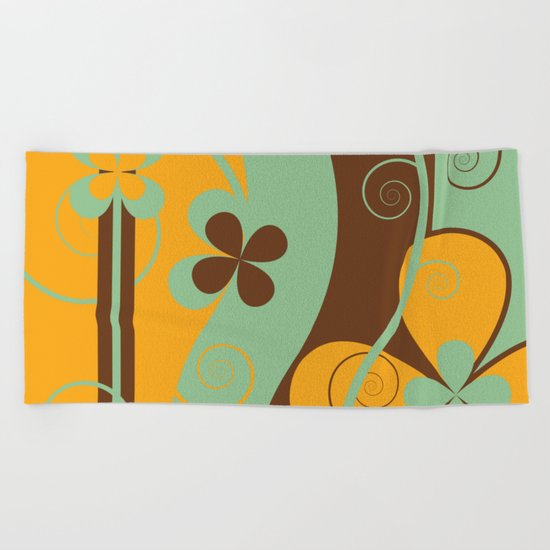 Modern Retro Floral Graphic Art Beach Towel