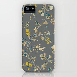 vintage floral vines - greys & mustard iPhone Case