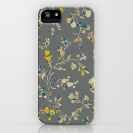 vintage floral vines - greys & mustard iPhone Case