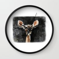fawn Wall Clocks featuring FAWN by Alison Sadler's Illustrations