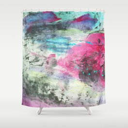 Grunge magenta teal hand painted watercolor Shower Curtain