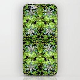 GREEN AURORA WINTER SNOWFLAKES PATTERN iPhone Skin
