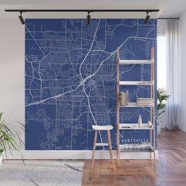 Huntsville Map, USA - Blue Wall Mural