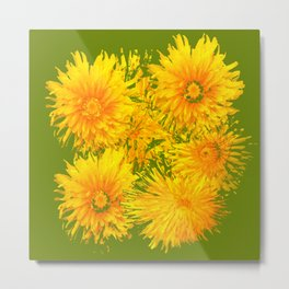ABSTRACTED MOSS GREEN  FIRST SPRING YELLOW DANDELIONS Metal Print