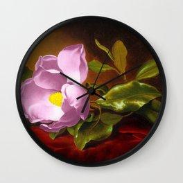 A Lavender Magnolia on Red Velvet by Martin Johnson Head Wall Clock