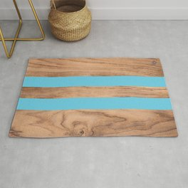 Striped Wood Grain Design - Light Blue #807 Rug