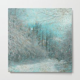 Golden Teal Snowy Winter Metal Print