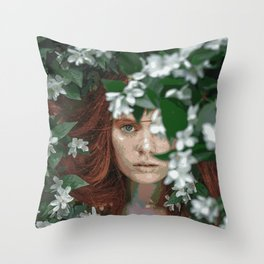 Meadow Girl (Floral Boho Art) #zala02creations #society6 Throw Pillow