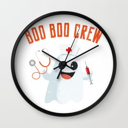 Boo Boo Crew, Nurse Ghost Funny Halloween Wall Clock