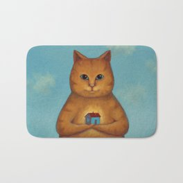Every Cat need a Home. Ginger Cat Illustration Bath Mat