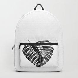Monstera leaf black watercolor illustration Backpack