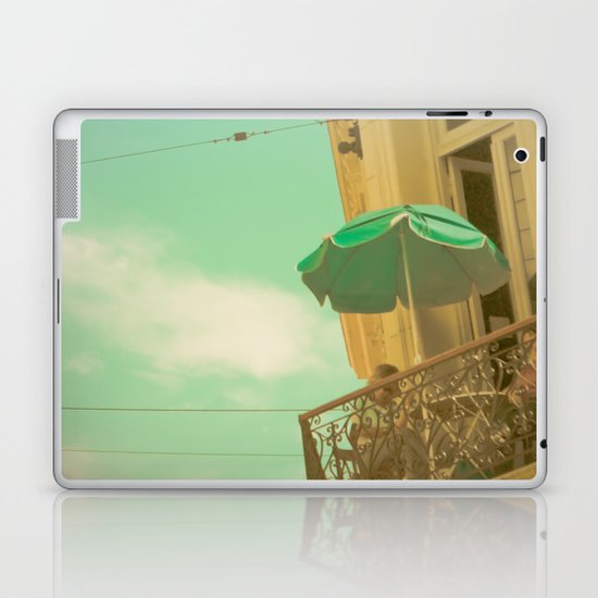 Vintage Turquoise Summer Umbrella (Retro and Vintage Urban Photography)  Laptop & iPad Skin