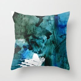 Scenic Route: a pretty, minimal abstract piece in blue and green by Alyssa Hamilton Art Throw Pillow
