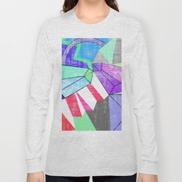 Colourful geomerical abstract art in pastels Long Sleeve T-shirt
