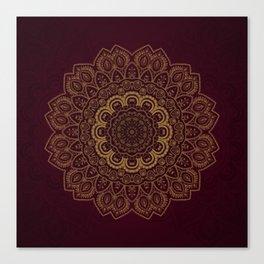 Gold Mandala on Royal Red Background Canvas Print