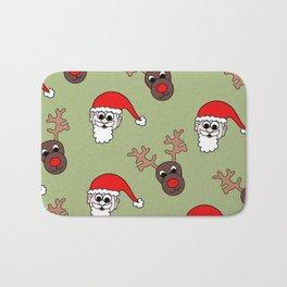 Santa and Rudolf Christmas Print Bath Mat