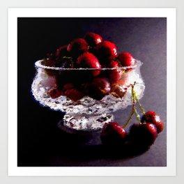 Bowl of Cherries Abstract Art Print